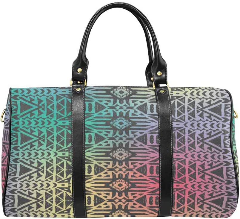InterestPrint Waterproof Travel Bag Sports Duffel Tote Overnight Bag Hipster Boho Chic Background with Gradient Mesh
