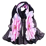 Bescita Women Soft Thin Chiffon Silk Scarf Flower printed Scarves Wrap Shawl Pashmina