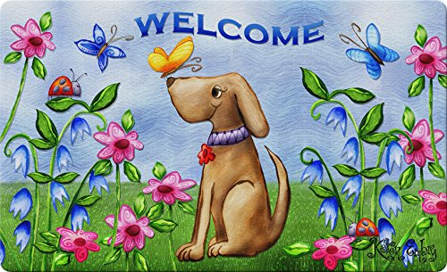 Toland Home Garden Welcome Dog 18 x 30 Inch Decorative Puppy Floor Mat Floral Spring Doormat by Toland Home Garden