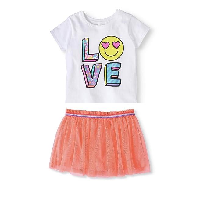 ecdacdd23 Garanimals 365 Kids from Girls' Graphic T-Shirt and Solid MESH Scooter  Skirt Set