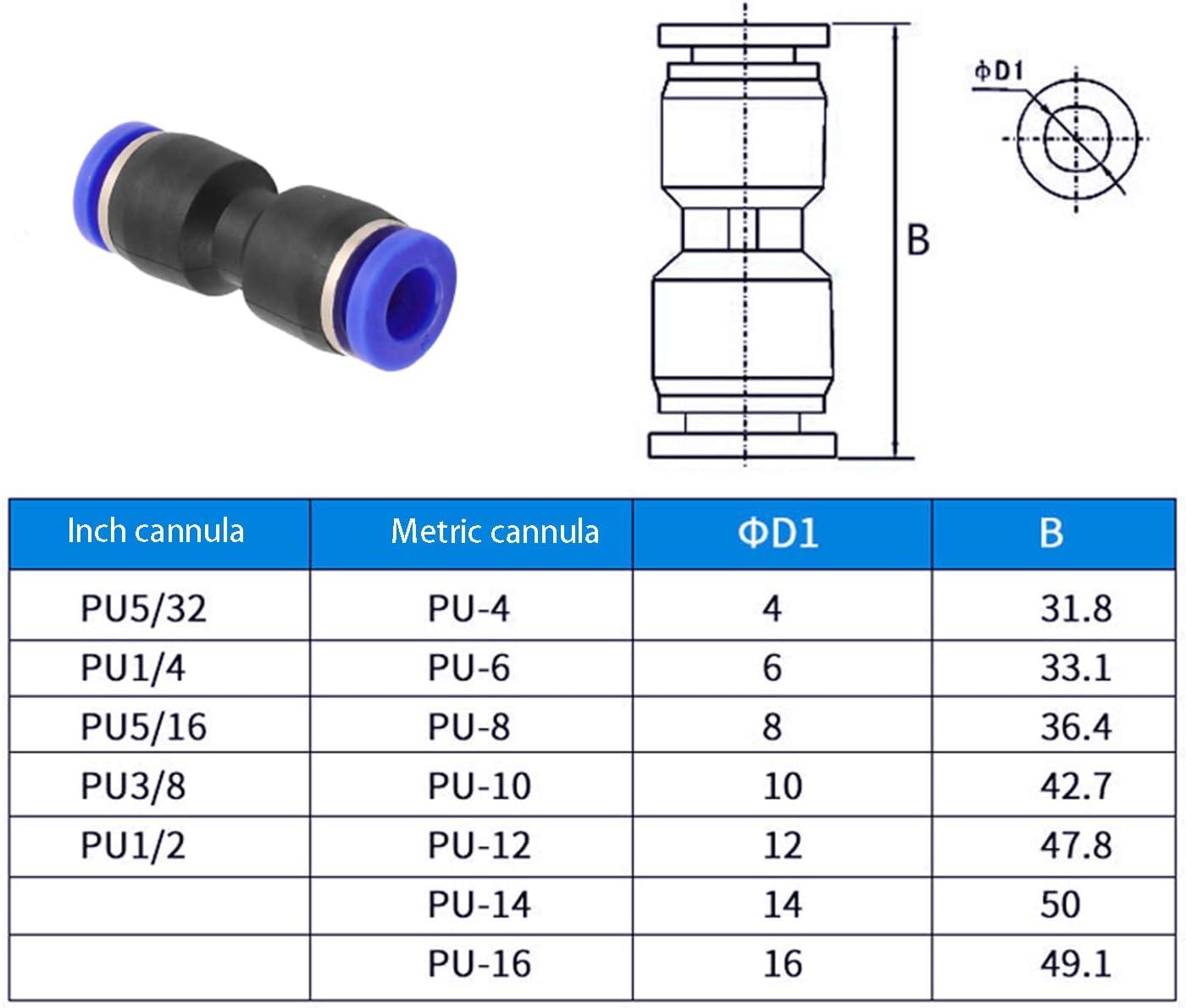 YouU 10 piezas Conector neum/ático de 6 mm de di/ámetro de 2 v/ías de manguera de tubo recto Aire neum/ático Conector de inserci/ón r/ápida