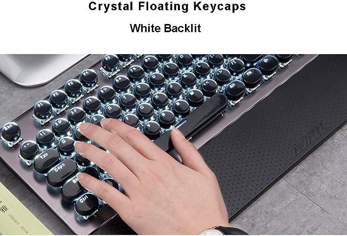 Guanwen Gaming Mechanical Keyboard and Mouse Set,Blue Switch White Backlit Metal Ergonomic Multimedia Wired USB Keyboard+3200DPI Breathing Backlit Mouse
