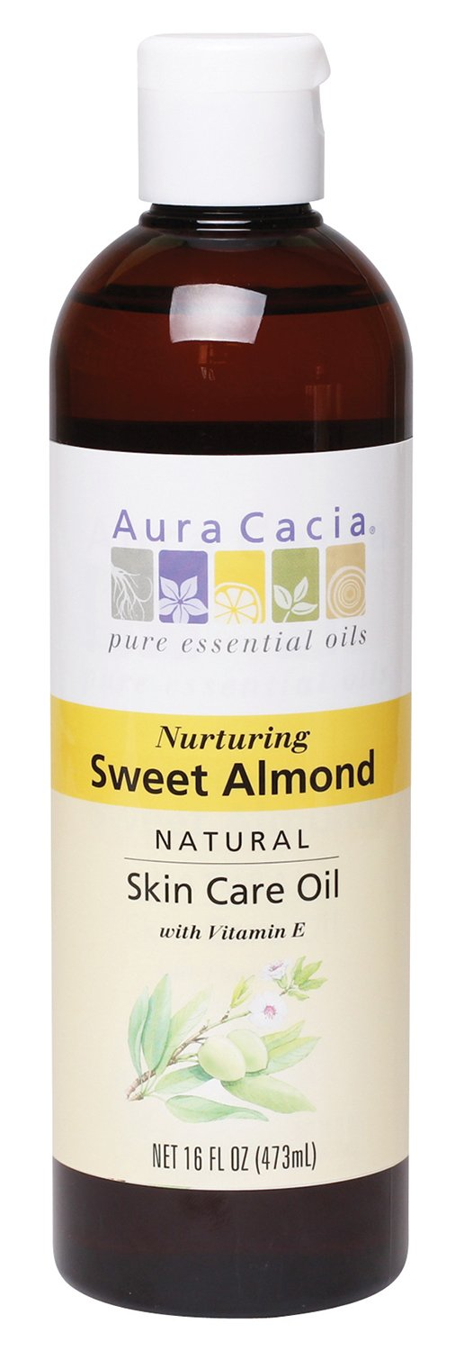 Aura Cacia Nurturing Sweet Almond Skin Care Oil, 16-Ounce Bottle