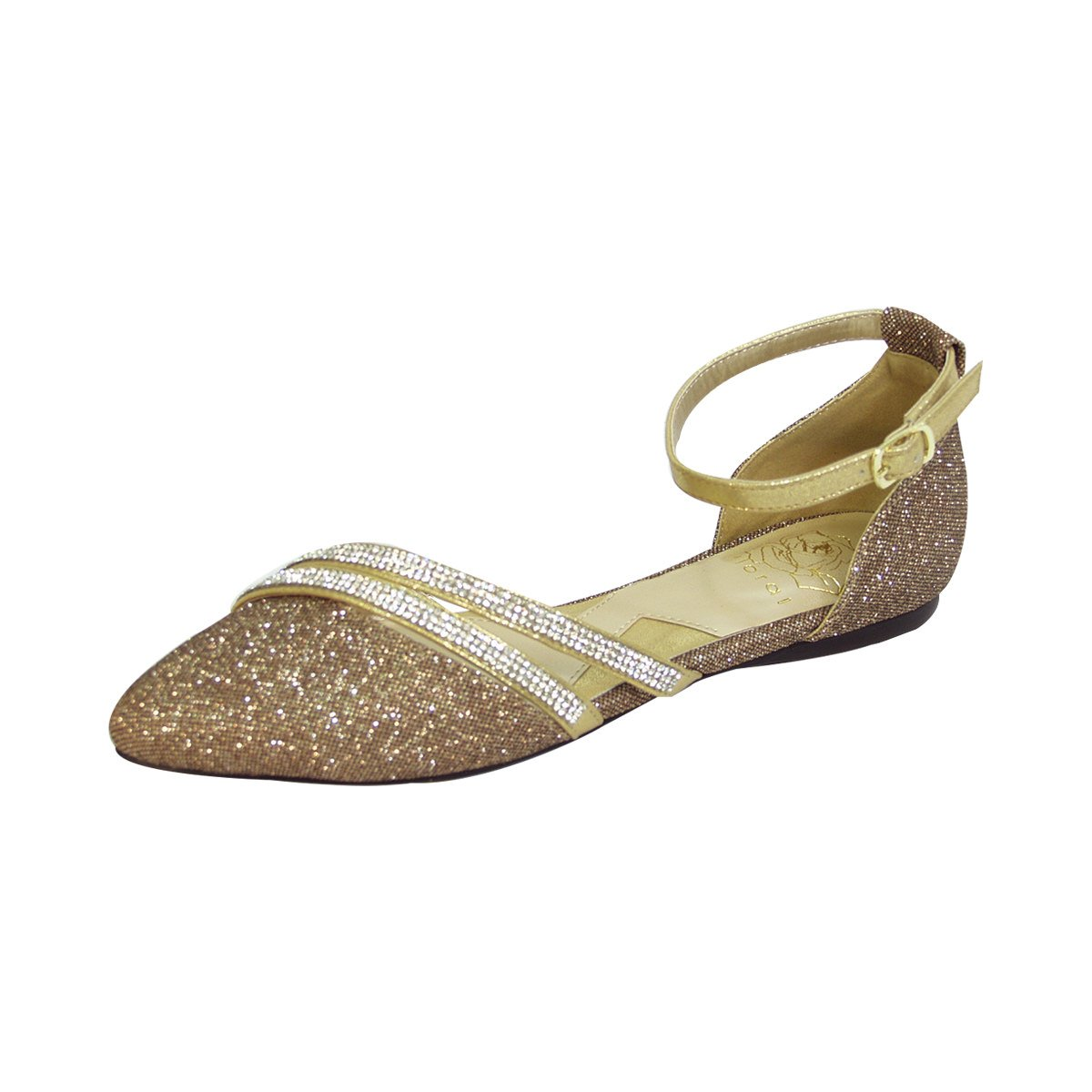 Fuzzy Hallie Women Wide Width Open Shank Pointed Toe Buckle Ankle Strap Flats (Size & Measurement) B0773S9RTY 9.5 D|Bronze