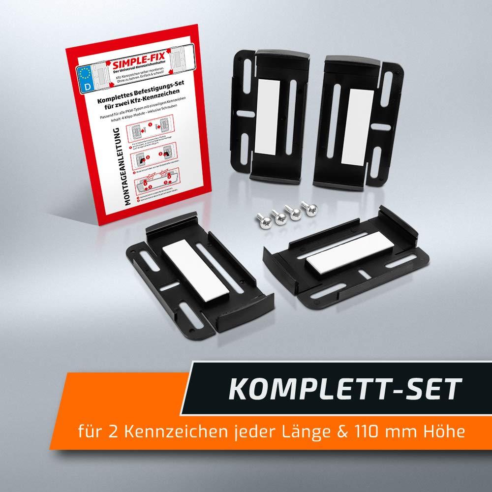 Nummernschildhalterung Rahmenlose Nummernschildhalter Simple Fix Kfz Set schildEVO Kennzeichenhalter f/ür 2 Autokennzeichen