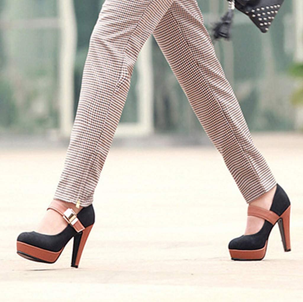 Amazon.com: TIFENNY Women Fashion Super High Heel Shoe Sexy Metal Patchwork Ankle Boots Round Toe Casual Shoes Sandals: Clothing