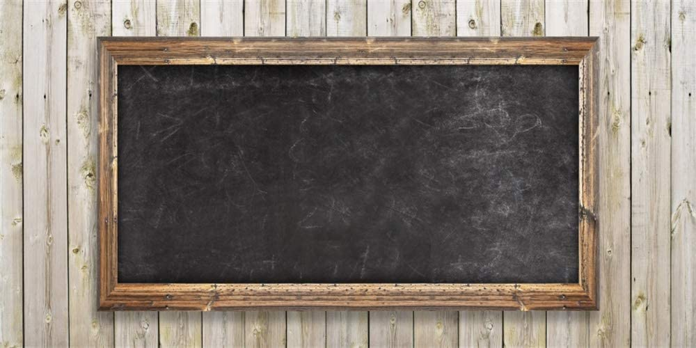20x10ft Blackboard with Frame on Wooden Board Background Back to School Backdrop for Photos New School Year Fall Semester First Day Welcome Party Decoration Banner Photo Studio Props