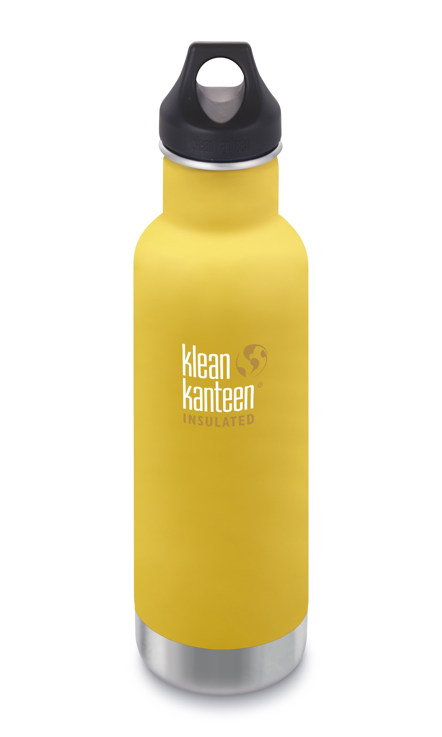 Klean Kanteen Classic Insulated Stainless Steel Water Bottle with Klean Coat and Leak Proof Loop Cap - 20oz - Lemon Curry