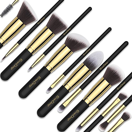 EmaxDesign Makeup Brushes 14 Pieces Professional Makeup Brush Set Synthetic Foundation Blending Concealer Eye Face Liquid Powder Cream Cosmetics Brushes Set (Golden Black)