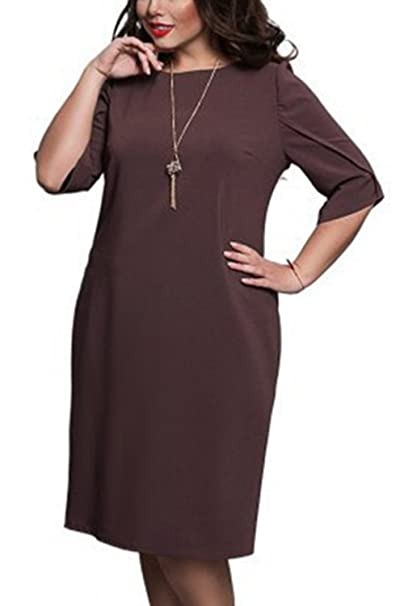 de7494abece5 Image Unavailable. Image not available for. Color  Women s Elegant Scoop  Neck Short Sleeve Party Plus Size Cocktail Midi Dress Brown L