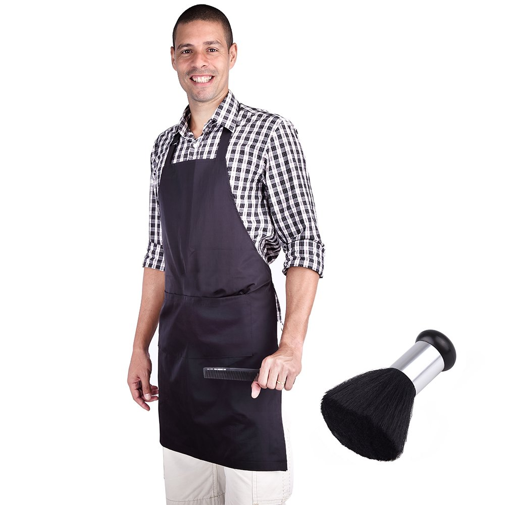 hiLISS Professional Hair Stylist Apron Black barber apron with Pocket, Comes with a black Neck Brush Plus PRO CB1 Carbon Fiber Comb