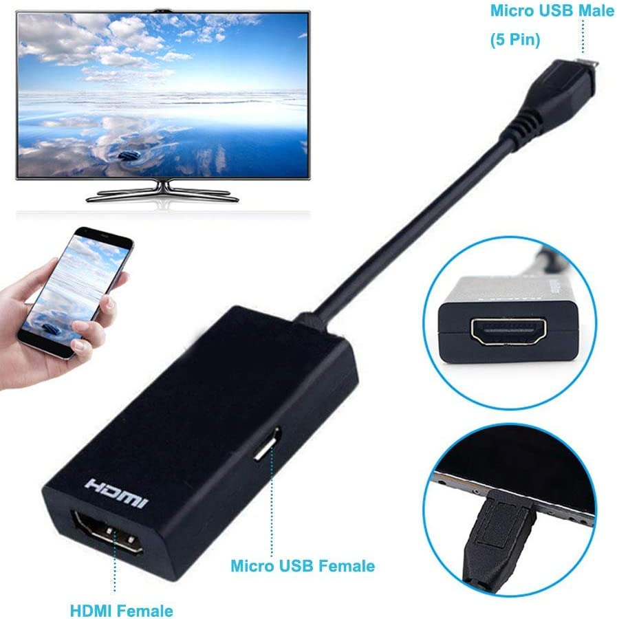 Note 3 4 8 and More MHL to HDMI Adapter for Android Devices Compatible with Galaxy S3 S4 Micro USB to HDMI Cable Adapter with 1080P Video Output