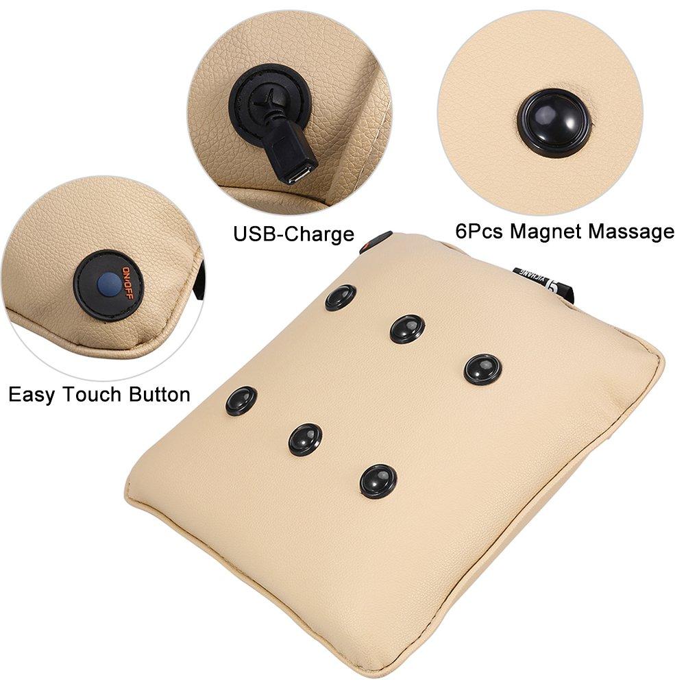USB chargeant la norme FDA Loreiller sans fil de massage /électrique doreiller de massage soulagent la douleur de cou et d/épaule de dos pour le bureau /à la maison et la voiture Lin Beige