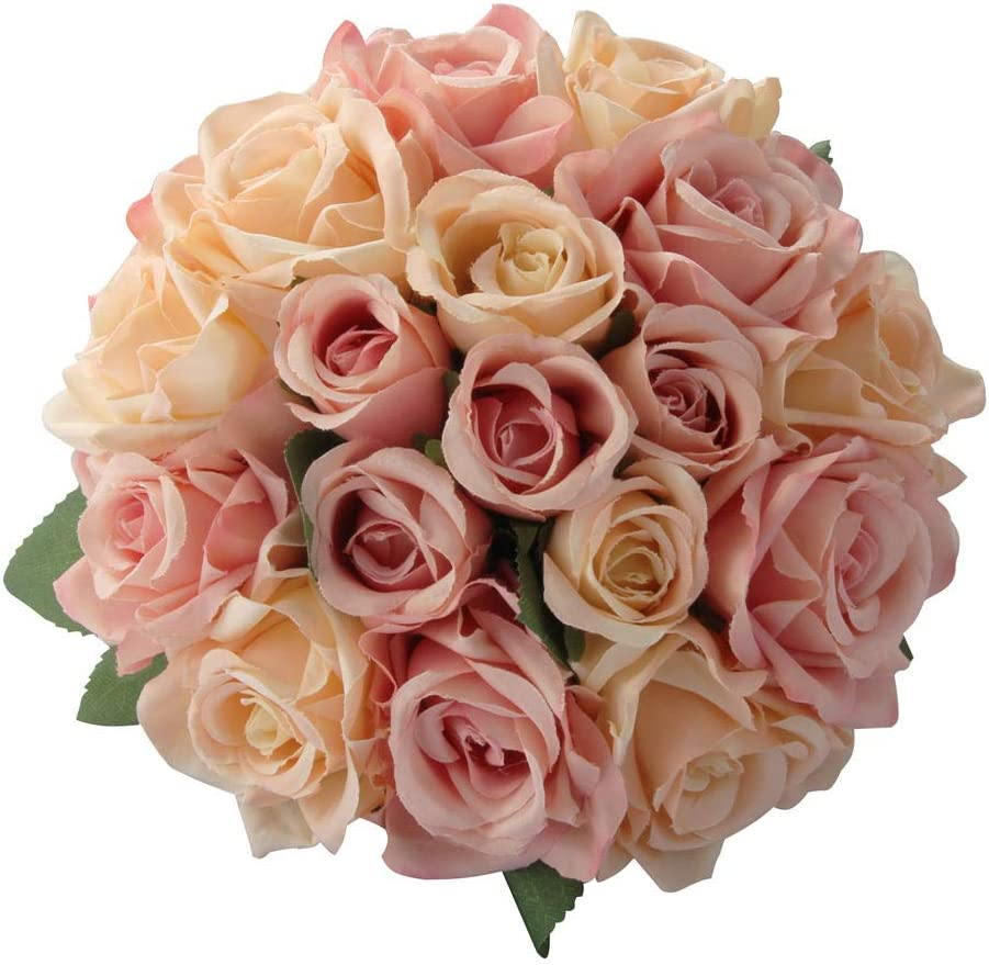 CQURE Artificial Flowers, FakeFlowers Silk Plastic Artificial Roses 9 Heads Bridal Wedding Bouquet for Home Garden Party Wedding Decoration (Pink Champagne×2)