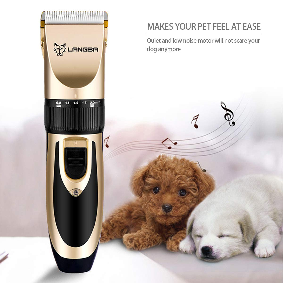 PETCUTE Cortapelos para Perros Cortar Pelo Recortadora de Pelo inalámbrico Recargable máquina de Afeitar del Pelo del Gato maquinillas de Perro 4 guías de ...