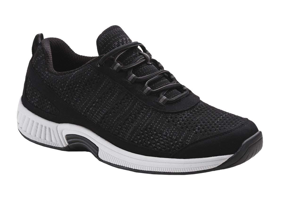 Orthofeet Plantar Fasciitis Relief Comfort Orthopedic Arthritis Diabetic Sneakers Walking Athletic Mens Shoes Lava Black by Orthofeet