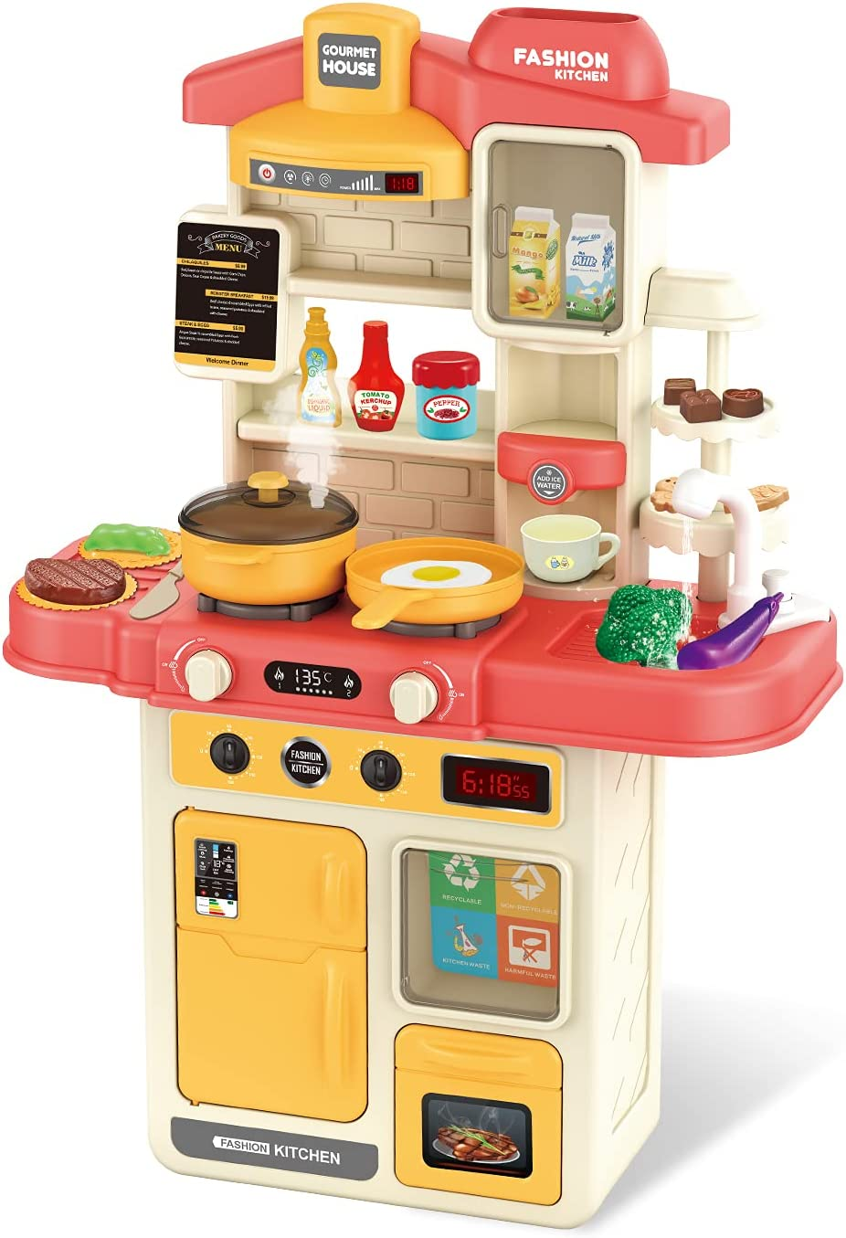 CUTE STONE Little Kitchen Playset, Kitchen Toy Set with Realistic Sound &Light, Play Sink, Cooking Stove with Steam, Play Food and Kitchen Accessories, Great Kitchen Toys for Toddlers Kids
