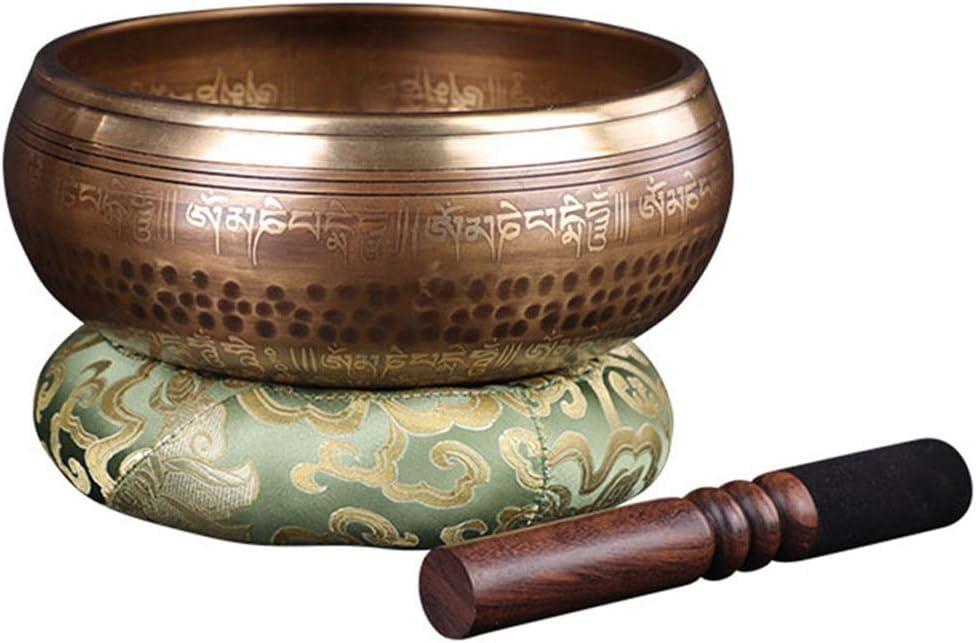 シンギングボウル ボウルセットを歌う癒しとマインドフルネスチベットのためのマレットクッションとボウルセットを歌う銅レトロなアンティークデザイン 瞑想 癒し 倍音 (Color : Brass, Size : 20cm)