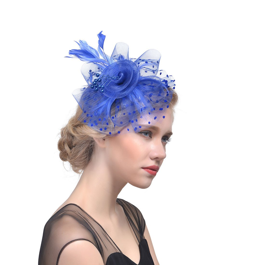 MITIN Flower Cocktail Tea Party Headwear Feather Fascinators Top Hat for Girls and Women with Clip and Headband Blue