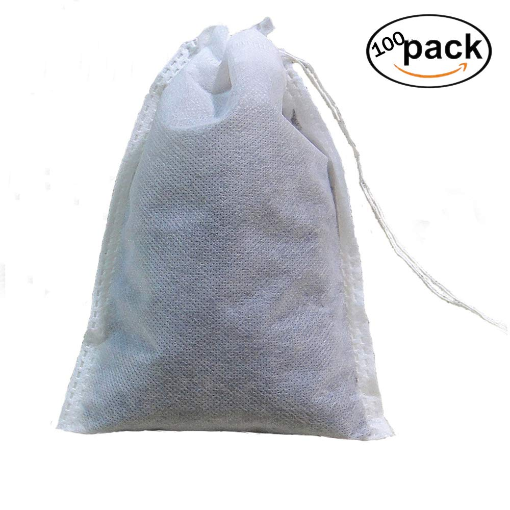 Empty Tea Filter Bags Disposable Drawstring Tea Bags Fillable Tea Infuser for Loose Leaf Tea Herbs and Spices 100pcs Lyanther