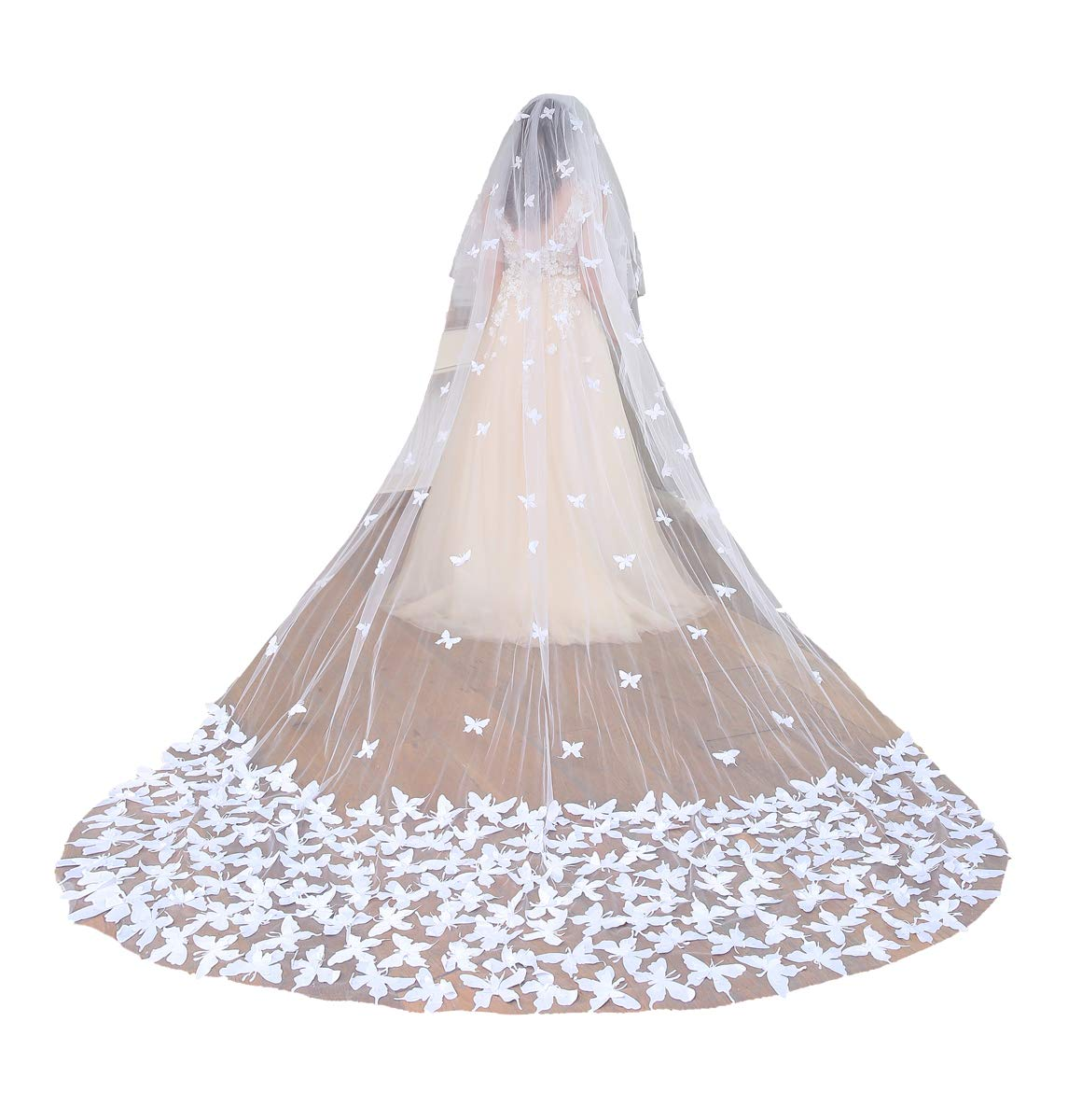 Fenghuavip 2T Wedding Veils Cathedral Veil for Brides with Butterfly Appliques (White)