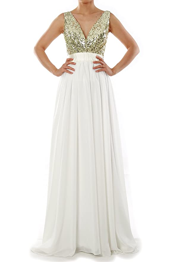 c905fdb644 Amazon.com  MACloth Women V Neck Sequin Long Prom Dress Wedding Party Formal  Evening Gown  Clothing