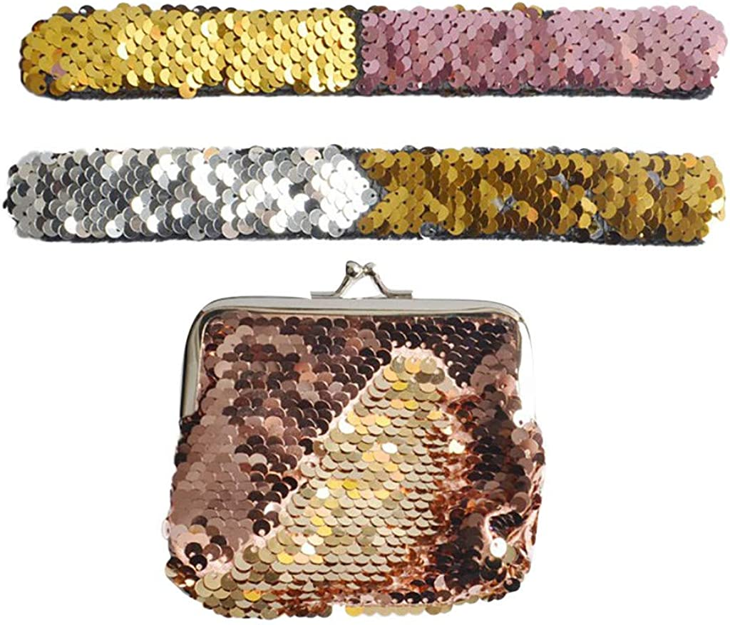 Fzitimx Childrens Gift Two-color Reversible Sequins Patted Bracelets Coin Purse Set