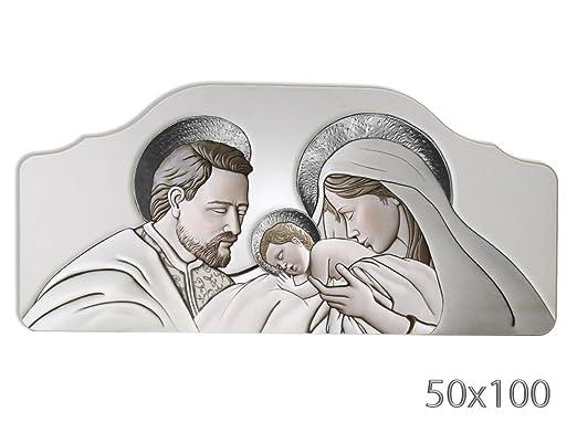 Vetrineinrete® Quadro con sacra famiglia natività per capezzale camera da  letto su legno quadri sacri arredo casa 50x100 cm (Argento) X