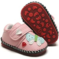HsdsBebe Baby Boys Girls Pu Leather Hard Bottom Walking Sneakers Toddler Rubber Sole Fisrt Walkers Infant Cartoon…