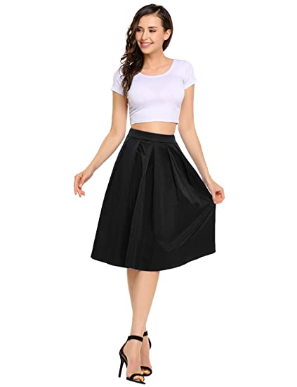 2e9401baab92d3 SHINE Women's Basic Stretchy Flared Casual Skater Skirt Knee Length, Black,  Medium