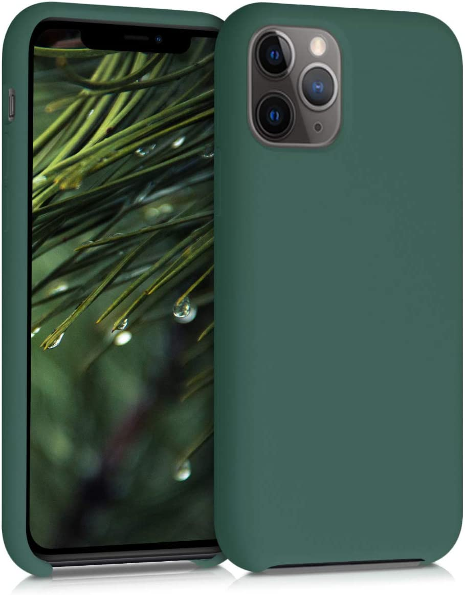kwmobile TPU Silicone Case Compatible with Apple iPhone 11 Pro Max - Soft Flexible Rubber Protective Cover - Forest Green