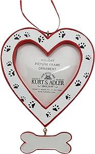 Kurt Adler Dog Heart Picture Frame - Bone Dangle and Paw Prints Ornament