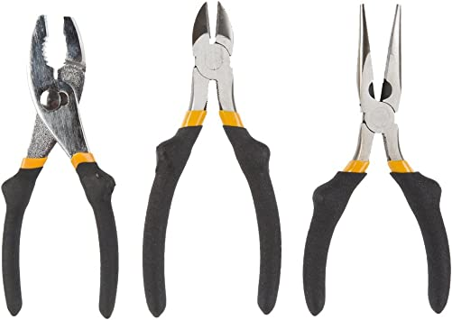 Yellow ***FREE SHIPPING*** Soft Rubber Grip 3 Pieces DIY Pliers Tool Set
