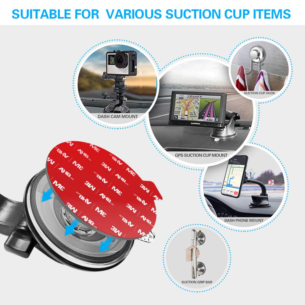 Sticky Adhesive Replacement for Dashboard Suction Cup Mount VOLPORT 4pcs 3M VHB Circle Double-Sided Extra Strong Adhesive Tapes for Dashboard//Camera//GPS//Ipad//Car Phone Sucker Holders