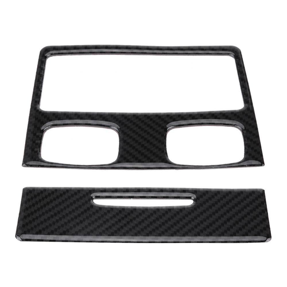 Qiilu QL07023 Back Air Conditioner Outlet Carbon Fiber Cover Panel Trim Sticker for BMW E90 3 Series 2005-2012(Hole and Without hole)(Without Hole)