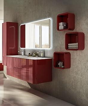 Arredobagnoecucine Mueble baño suspendido Moderno Liverpool Rojo, tamaño cm 140, Espejo, 2 lavabi