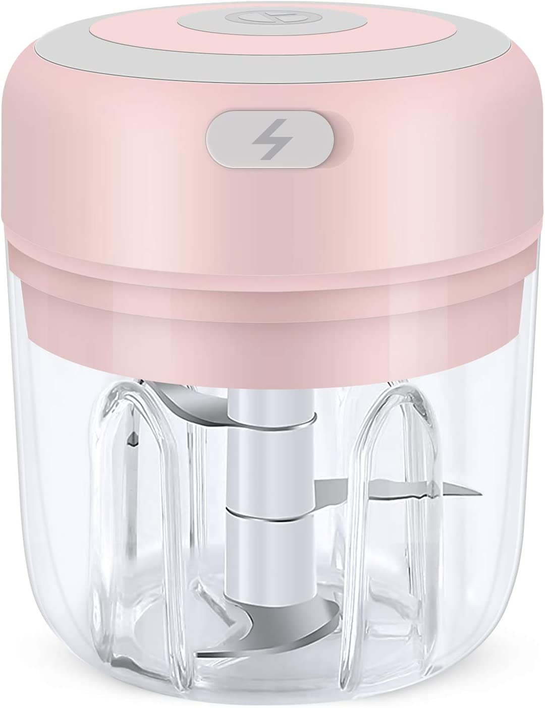 Hawiton Mini Electric Chopper 250ML, Portable Food Chopper & Grinder for Kitchen- Garlic Press Chopper/Food Grinder/Masher/Blender for Garlic, Onion, Vegetables, Meat, Mincing& Puree Food Processor