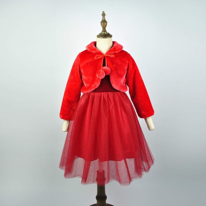 HCABL Girls Faux Fur Dress Coat Flower Girl Bolero Jacket Princess Cape Winter 1-10