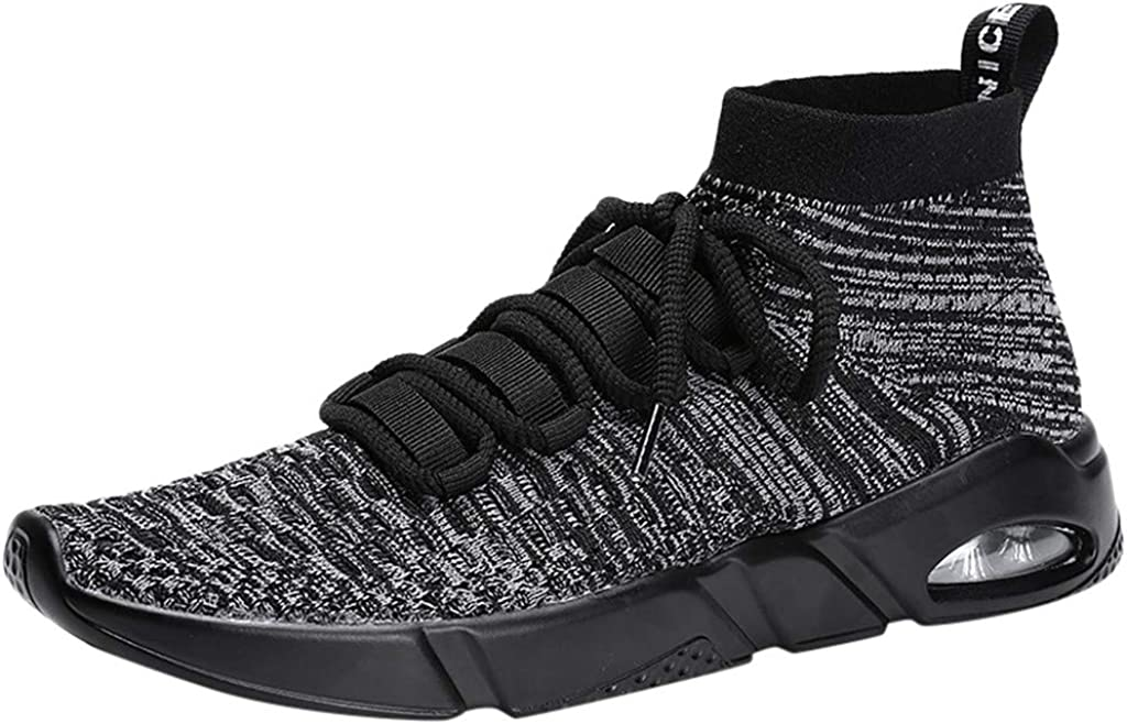 TIFENNY Mens Fashion Casual New Sock Shoes Solid Lace Up Knitted Sport Lightweight Running Shoes Soft Bottom Sneakers