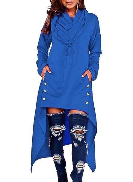 57d1c42c50a Eytino Women Asymmetric Hem Long Sleeve Loose Pullover Hoodies Long Tunic  Tops(5 Colors,1X-5X)