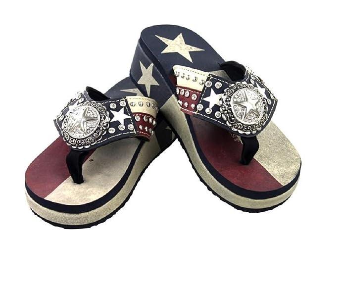 Rhinestone Lone Star Western Flip Flops Sandals