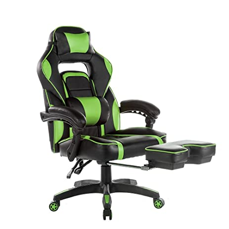 merax high back racing home office chair ergonomic gaming chair with footrest pu