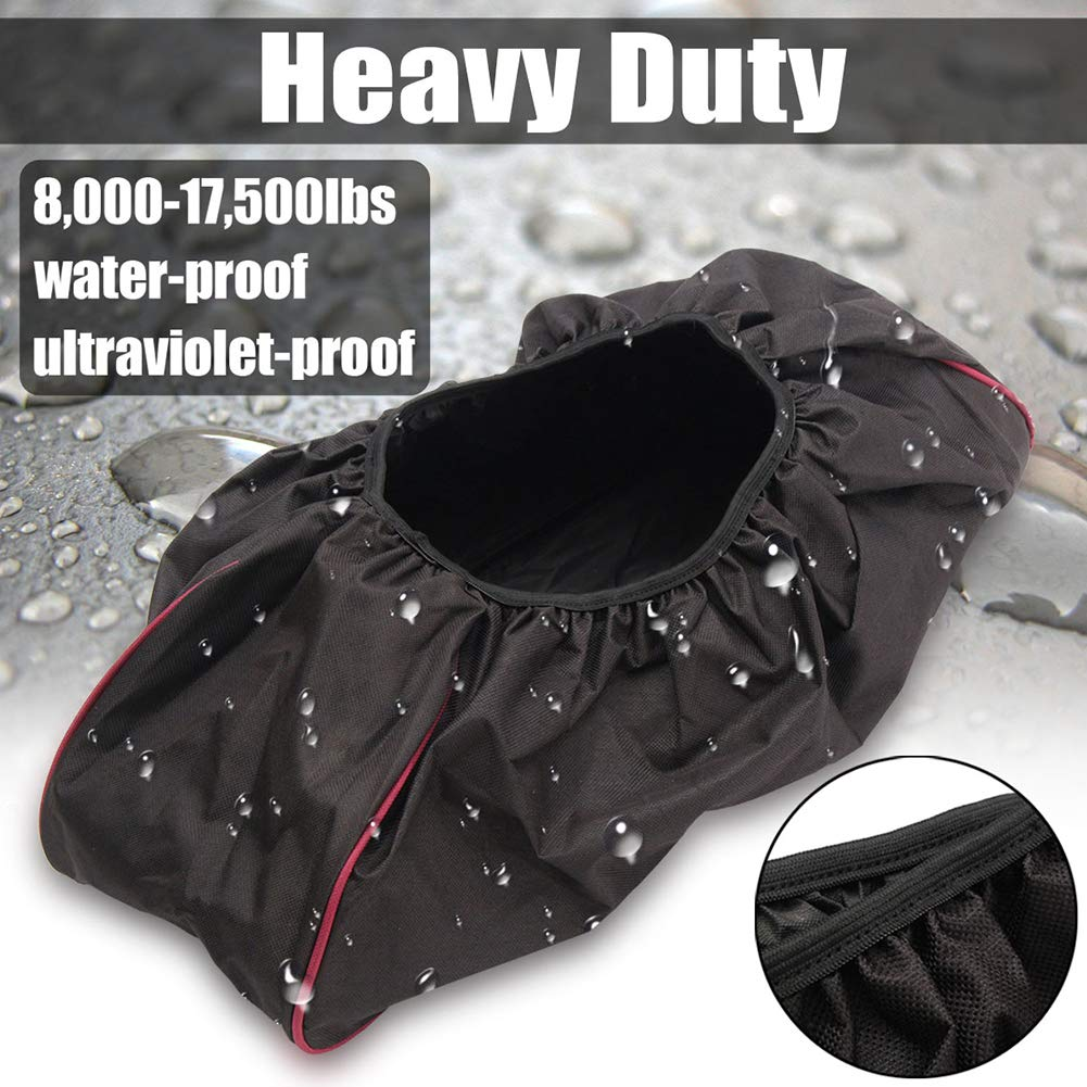 600D Heavy Duty Waterproof Winch Protector Oxford UV /& Mildew-Resistant Winch Protection Cover Winch Cover Electric Winches 8000-17500 lbs 1pc Winch Cover