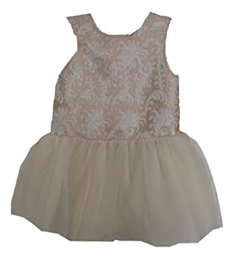 Amazon Com Cynthia Rowley Tulle Girl Beige Floral Brocade Dress