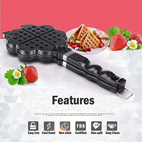 TAMUME Stovetop Cast Alluminium Waffle Iron Belgian Heart Waffle Maker Ideal for Valentine's Day Gift Kitchen Tool (Heart Shape) ()