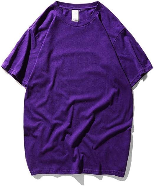 Manga Corta Camiseta de Cuello Redondo for Hombre de los niños Sumer Manga Corta Camisetas en Color Liso Oversized Loose 1-Pack Playera Playera (Color : Púrpura, tamaño : XS): Amazon.es: Hogar
