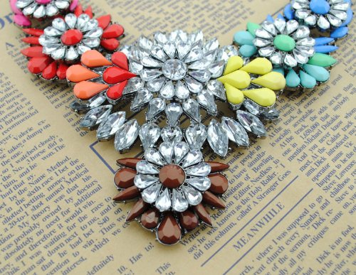 2014 Hot Sale Fashion Gorgeous Lady Chain Bib Statement Acrylic Floral Necklace Collar 5 Colors (Color5)