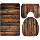 Western Country Farmhouse Style Rustic Wood Print Barn Bathroom Rugs and Mats Sets 3 Piece, Memory Foam Bath Mat, U-Shaped Co