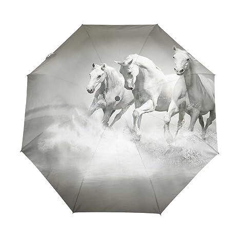 COOSUN Caballos blancos Correr El paraguas a prueba de agua de agua automático 3 plegable Sombrilla