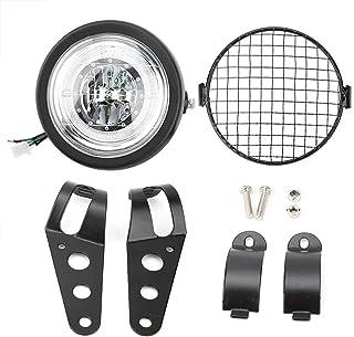 Retro Scheinwerfer, nagelneues Motorrad änderte Retro Frontscheinwerfer-Lampen-LED-Licht-Zusätze Black Metal